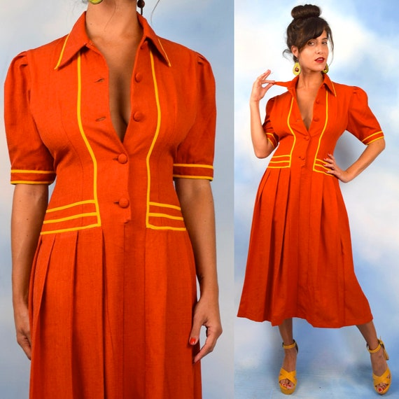 Vintage 90s does 40s Candy Corn Orange and Yellow Pleated Shirt Waist Dress (size large)