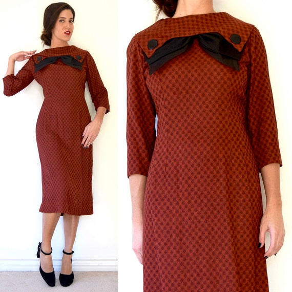Vintage 50s Red Plaid Wool Hourglass Silhouette Wiggle Dress with Bow Collar (size medium, large)