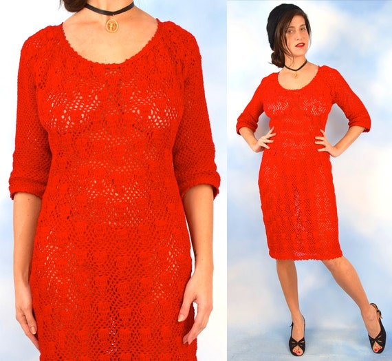 Vintage 60s 70s  Hand Crocheted Red Wiggle Dress (size large)
