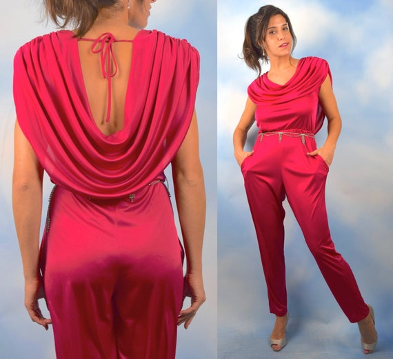 Vintage 70s 80s Hot Pink Jumpsuit with Grecian Cowl Neck Collar (size medium, large)