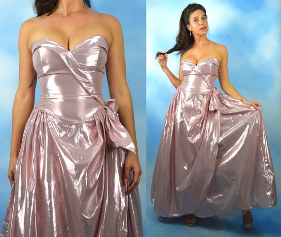 Vintage 80s does 50s Pink Lame Strapless Gown (size xs)