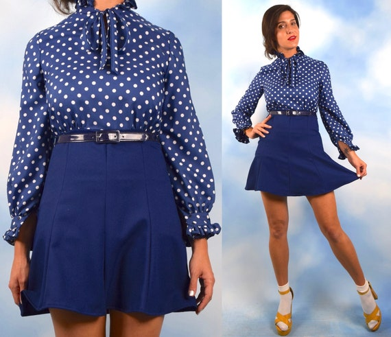 Vintage 60s 70s Navy Blue and White Polka Dot Mini Dress (size xs, small)