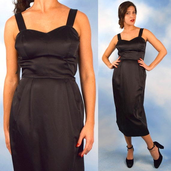 Vintage 60s Black Liquid Satin Hourglass Silhouette Wiggle Dress (size small, medium)