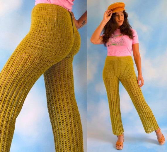 Vintage 60s 70s Avocado Green Crocheted High Waist