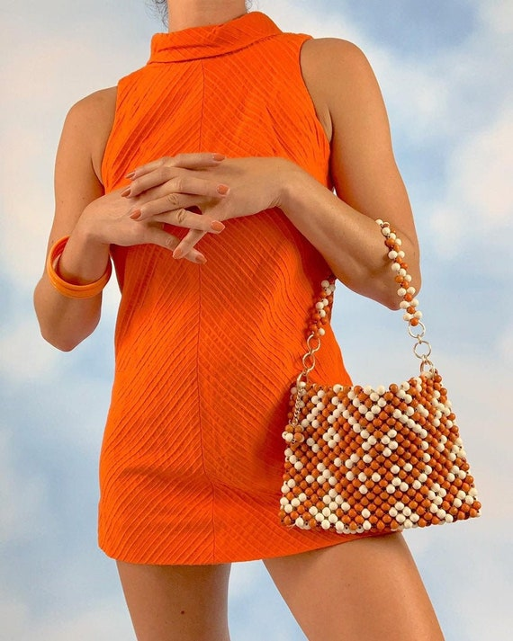 Vintage 1960s Orange and White Wood Beaded Handbag