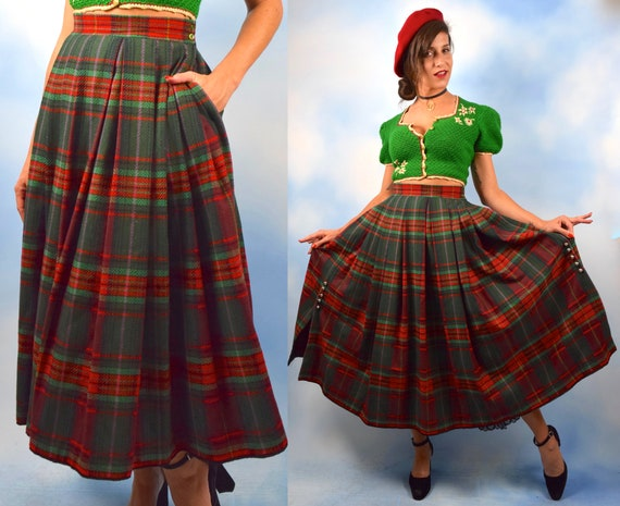 Vintage 60s Helene Straber High Waisted Tartan Plaid Pleated Wool Skirt (size small)
