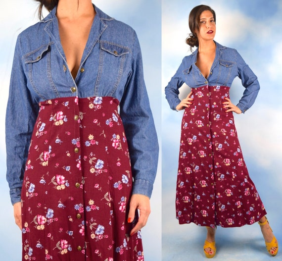 Vintage 90s Denim and Floral Button Front Shirt Waist Midi Dress (size small, medium)