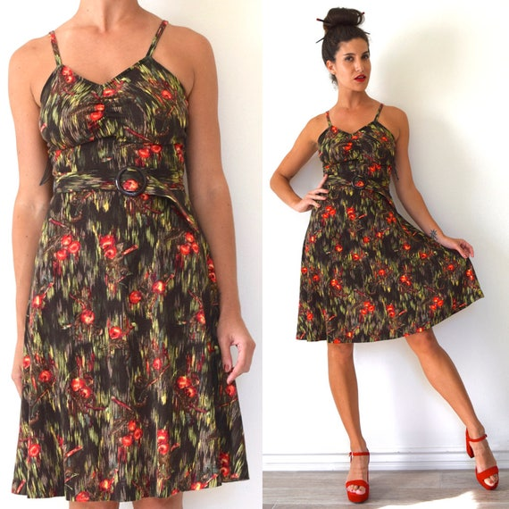Vintage 70s Cherry Tree Novelty Print A Line Sun Dress (size xs, small)