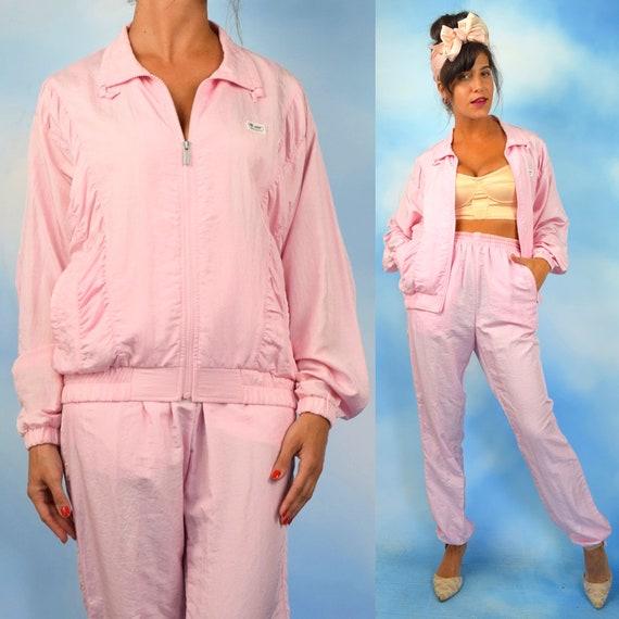 Vintage 80s 90s Descente Bubblegum Pink 2 Piece Track Suit