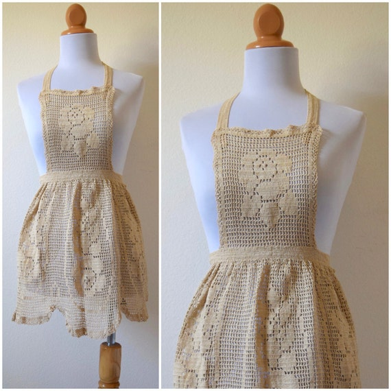 Vintage 50s 60s Crocheted Apron