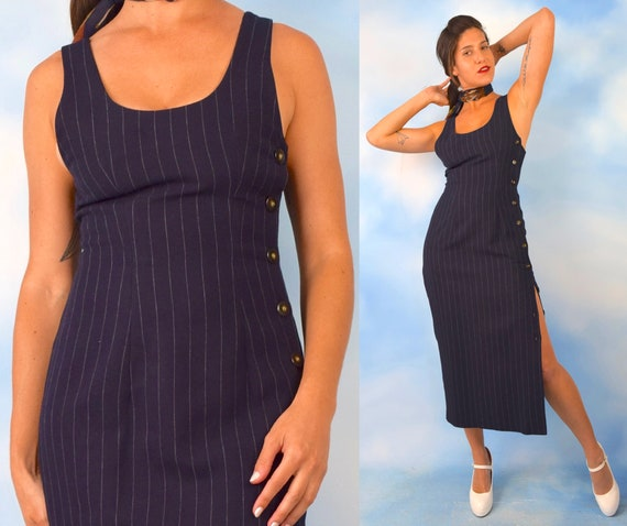 Vintage 1990\u2019s Navy Button Front Maxi Dress