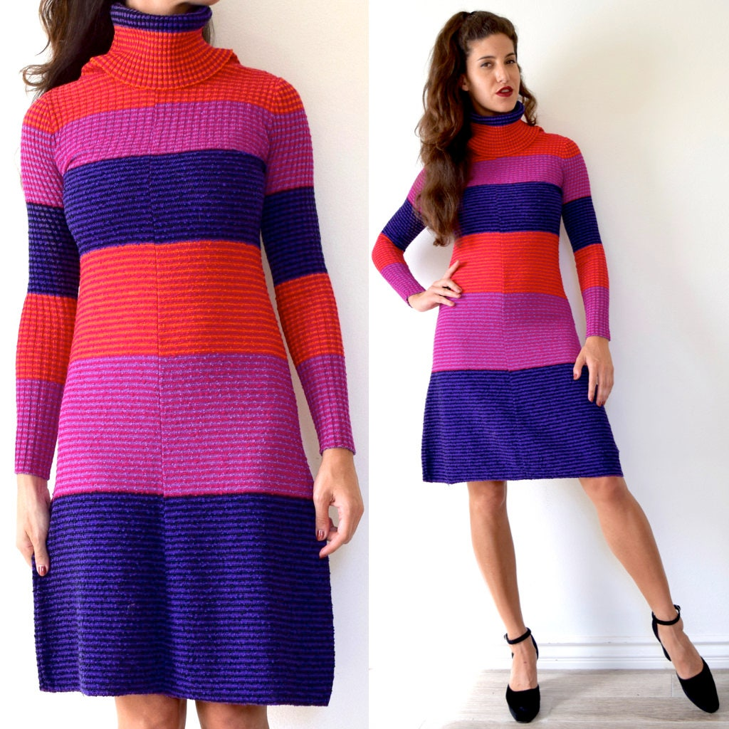 befa2da2b7 Vintage 60s 70s Color Blocked Striped Micro Ribbed Wool Knit ...