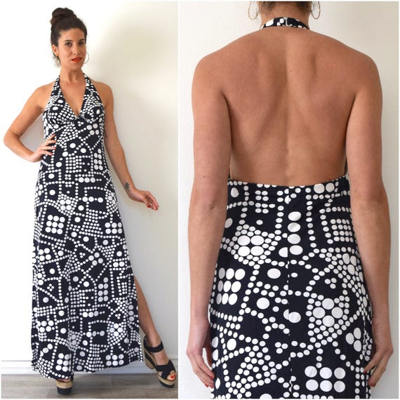 Vintage 60s 70s Catalina Black and White Polka Dot Halter Back Maxi Dress (size medium, large)