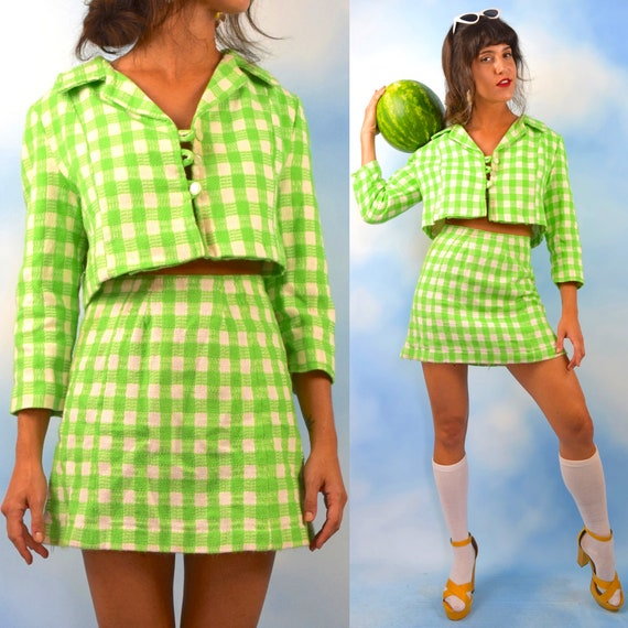 Vintage 60s Lime Green and White Picnic Plaid High Waisted Mini Skirt and Cropped Jacket 2 Piece Set (size small, medium)