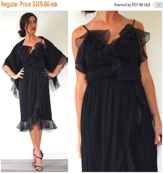 SALE SECTION / 50% off Vintage 70s Black Ruffled Wrap Dress with Matching Triangle Shawl
