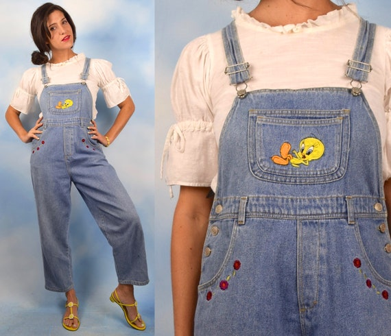 Vintage 90s Tweety Bird Looney Tunes Denim Overalls (size xs, small)