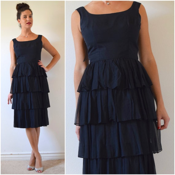 Vintage 60s Black Chiffon Tiered Scoop Back Cocktail Dress (size small, medium)