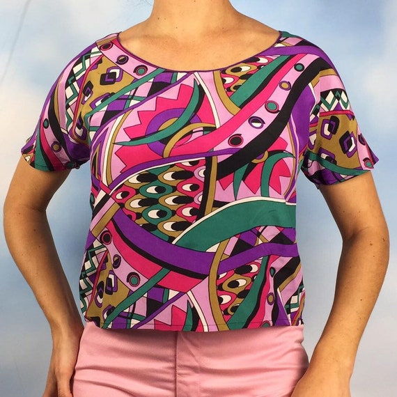 Vintage 60s Pucci Style Silk Cropped Blouse (size small, medium)