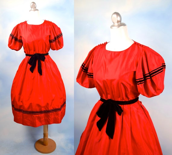 SALE SECTION / 50% off Vintage 80s does 50s Red Taffeta Party Dress (size xs, small)