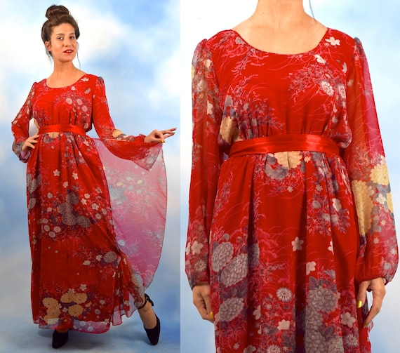 Vintage 70s Hanae Mori Red Floral Chiffon Balloon Sleeve Maxi Dress (size large, xl)