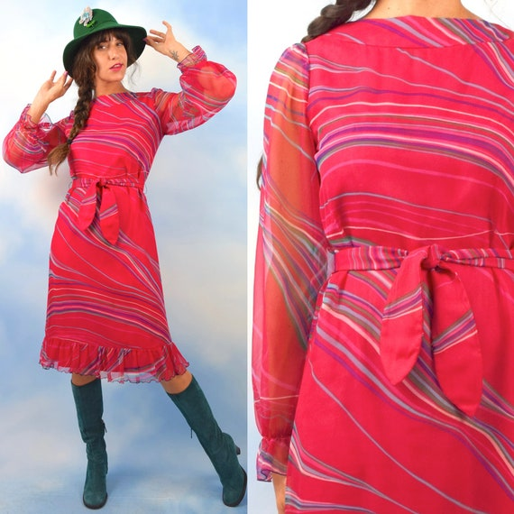 Vintage 60s 70s Hot Pink Psychedelic Striped Long Sleeved Chiffon Party Dress (size small, medium)