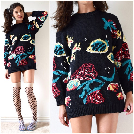 Vintage 80s 90s Cape Isle Knitters Under the Sea Fish Sweater (size small, medium)