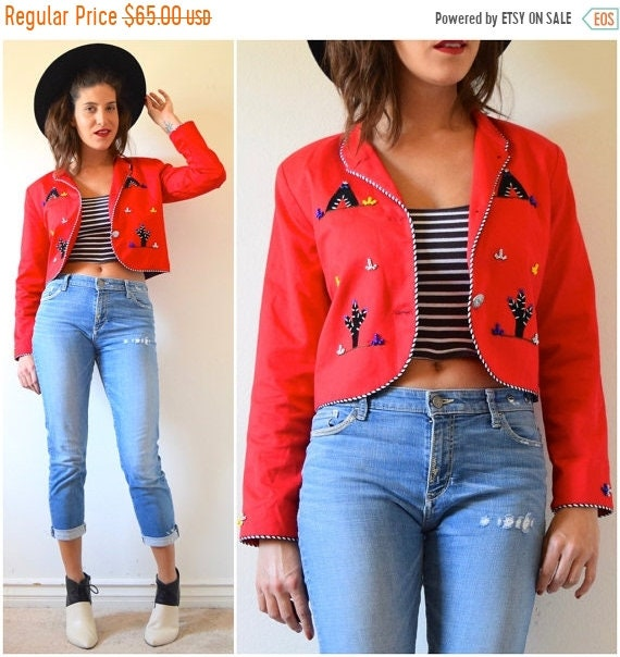 SALE SECTION / 50% off Vintage 80s 90s Red Southwestern Cropped Beaded Blazer with Teepee and Cactus Appliques (size small, medium)