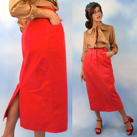 Vintage 80s 90s Coral Red High Waisted Denim Midi Skirt (size small)