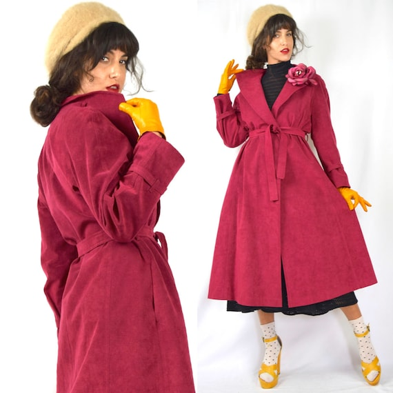 Vintage 70s Raspberry Red Faux Suede Trench Coat (size medium, large)