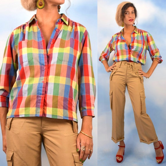 Vintage 60s 70s Rainbow Checkered Cotton Voile Button Down Collared Blouse (size medium, large)