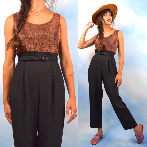 Vintage 80s 90s Copper Lurex and Black Jumpsuit (size medium)