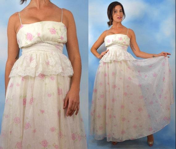 Vintage 70s Gunne Sax White Rose Print Gown (size xs)