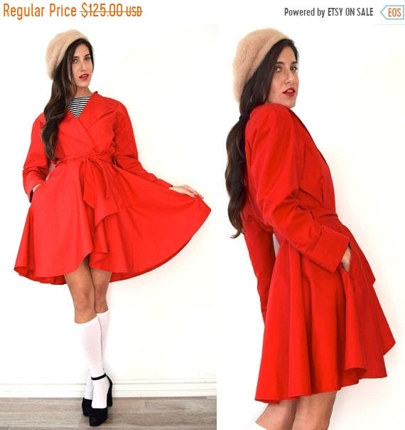 SALE SECTION / 50% off Vintage 80s 90s Neiman Marcus Red High Low Short Princess Raincoat (size medium)