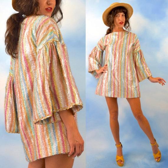 Vintage 60s 70s Rainbow Striped Tinsel Bell Sleeved Micro Mini Shift Dress (size medium, large)