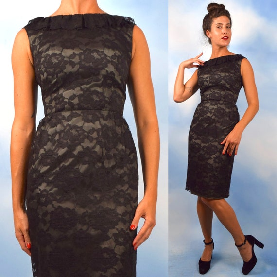 Vintage 50s 60s Black Lace Fitted Hourglass Silhouette Wiggle Dress with Ruffled Collar and Smoke Grey Satin Lining (size xs, small)