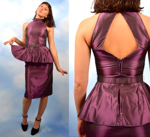 Vintage 80s Iridescent Mauve Taffeta Cocktail Dress with Cut Out Back and Peplum Waist (size xs, small)