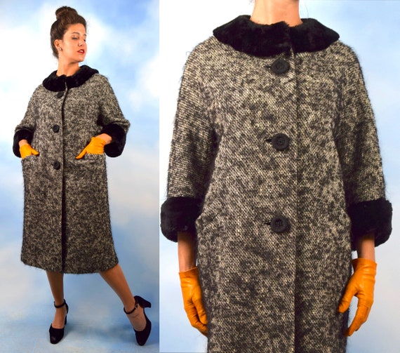 Vintage 60s Salt and Pepper Mohair Knit and Faux Fur Swing Coat (size small, medium)