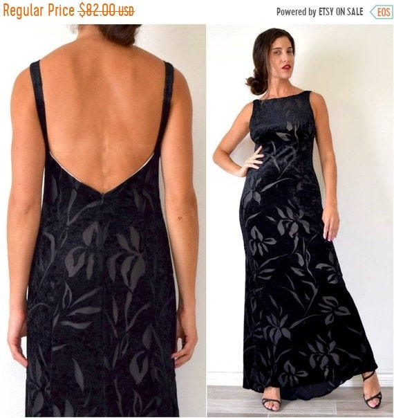 SALE SECTION / 50% off Vintage 90s Black Velvet Floral Cut Out Open Back Maxi Dress (size