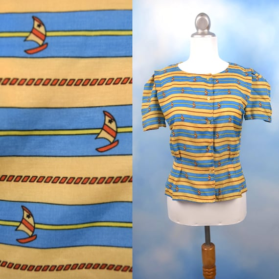 Vintage 80s 90s Striped Sailboat Print Tailored Button Down Short Sleeved Blouse (size medium)