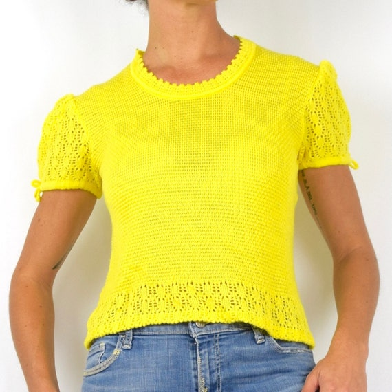 Vintage 60s 70s Sunny Yellow Micro Knit Puffed Sleeve Sweater Blouse (size medium, large)