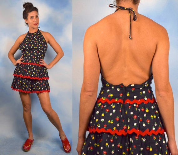 Vintage 60s Daisy and Tulip Print Tiered Ruffled Backless Mini Dress (size small)
