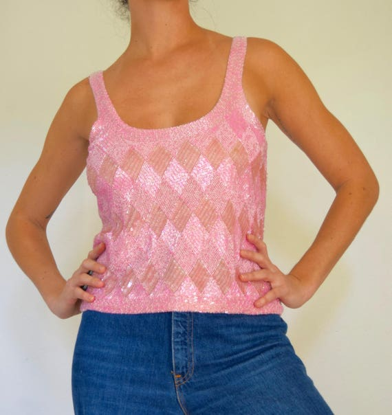 Vintage 80s 90s Bubblegum Pink Harlequin Checkered Beaded and Sequined Silk Tank Top (size small, medium)
