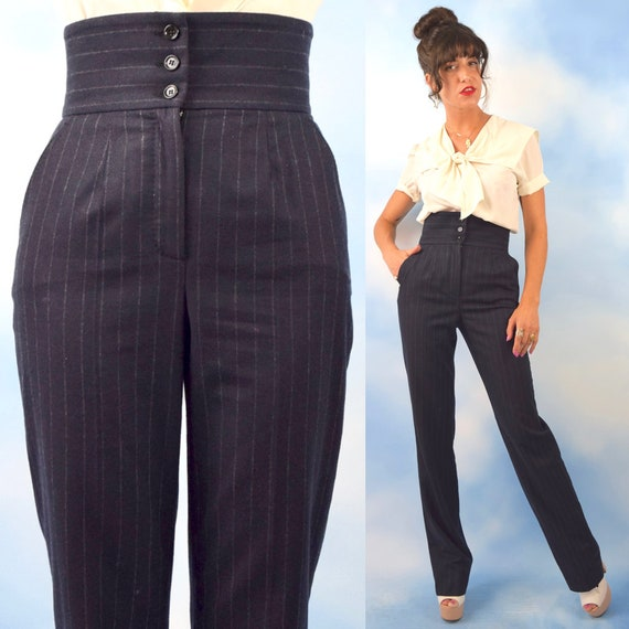 and Trousers DOLCE Straight Cashmere 90s Ultra Striped Pin Grey Charcoal and Vintage size Wool small Legged High Waisted GABBANA 5EaxRq