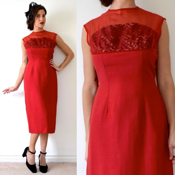 Vintage 60s Siren Red Cocktail Dress with Built in Black Lace Strapless Bra (size medium)