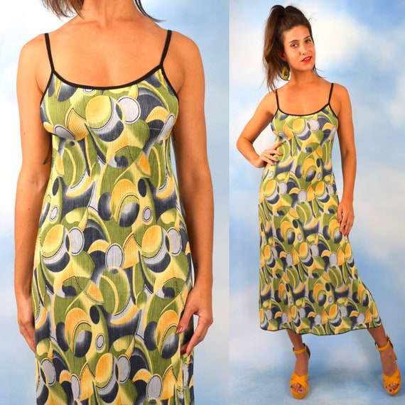 90s Psychedelic Olives Micro Rib Knit Midi Dress (size medium, large)