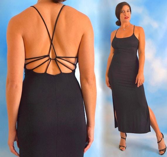 Vintage 90s Little Black Strappy Back Midi Dress w