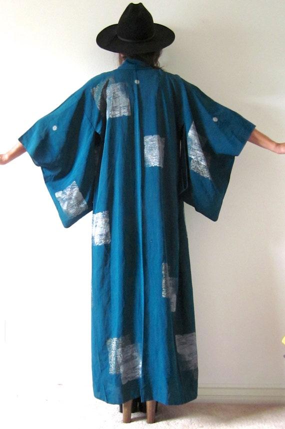 Vintage 30s 40s Teal Kimono