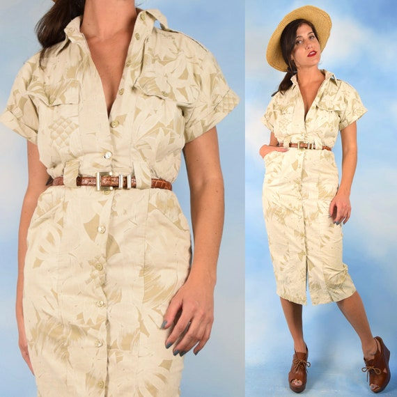 Vintage 80s 90s Pineapple Safari Button Front Wiggle Dress (size xs, small)