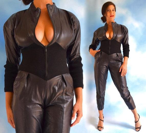 Vintage 80s 90s Karen Okada for Climax Black Leath