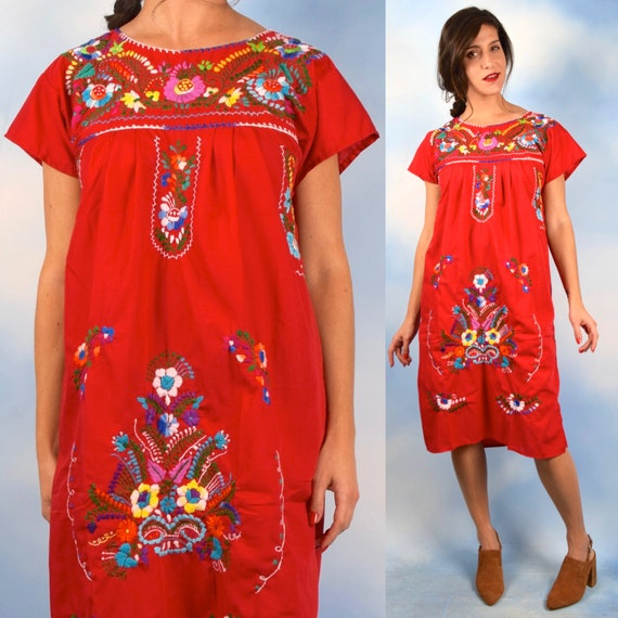 Vintage 70s Red Rainbow Embroidered Mexican Sheath Dress